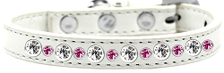 Posh Jeweled Dog Collar White with Bright Pink Size 12